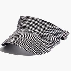 Madewell Black + White Gingham Tie-Back Visor S/M
